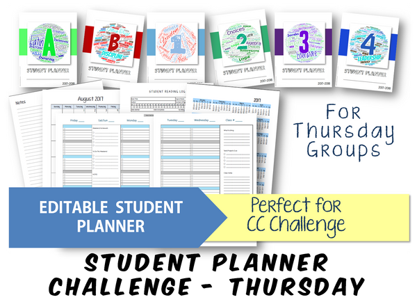 2019-2020 Student Planner - Challenge (Thursday) - EDITABLE (INSTANT DOWNLOAD)