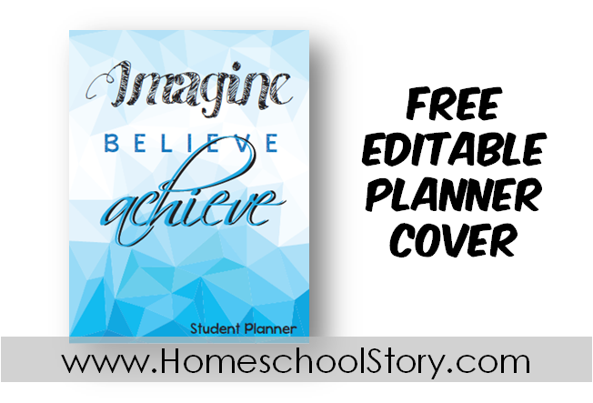"Student Planner Cover EDITABLE ""Imagine""  (FREE DOWNLOAD)"