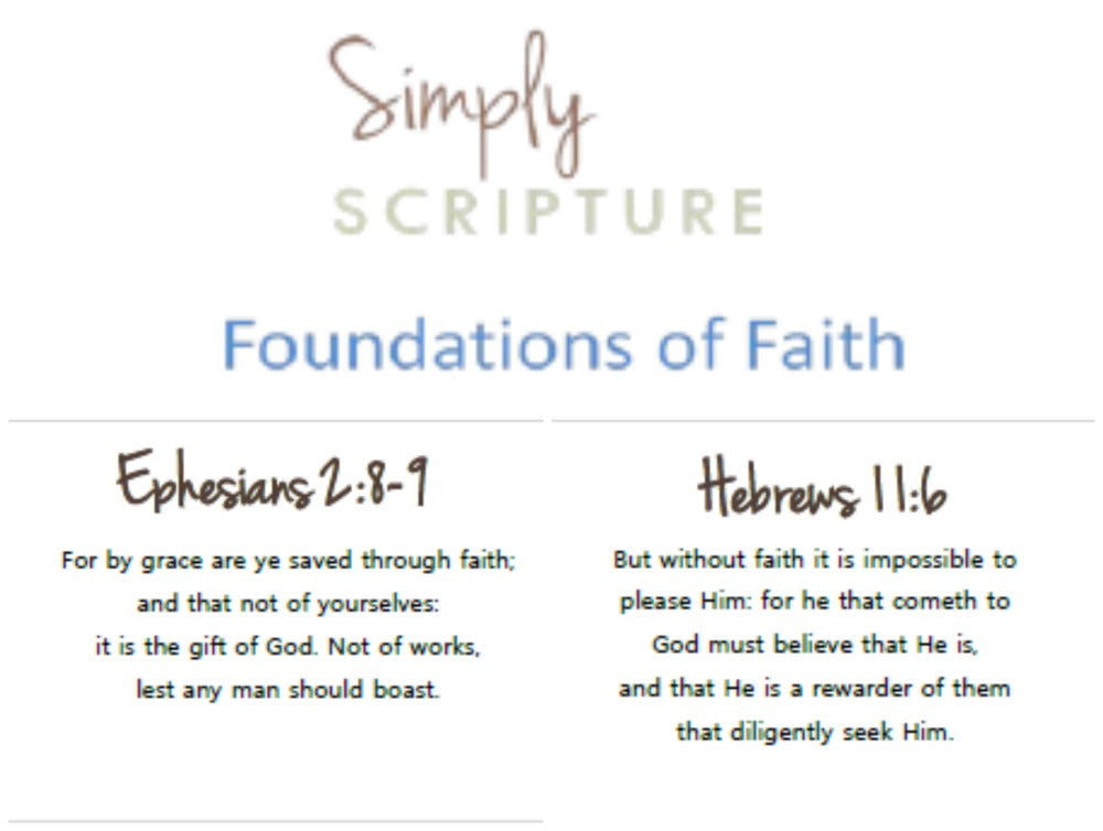 Simply Scripture Foundations of Faith - Memory Cards - (PRINTED/LAMINATED)
