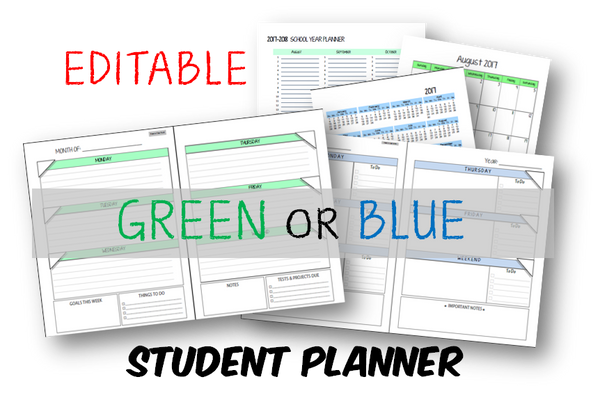Student Planner - No Subject - Green or Blue (INSTANT DOWNLOAD)