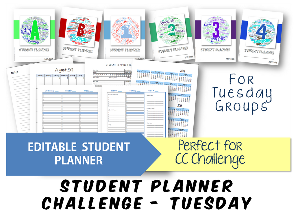 Student Planner - Challenge (Tuesday) - EDITABLE (INSTANT DOWNLOAD)