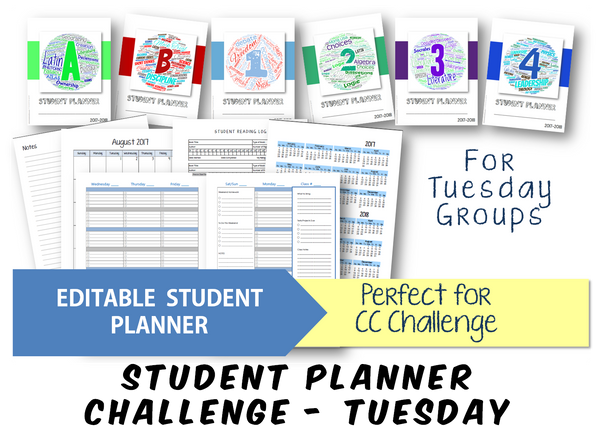 2019-2020 Student Planner - Challenge (Tuesday) - EDITABLE (INSTANT DOWNLOAD)