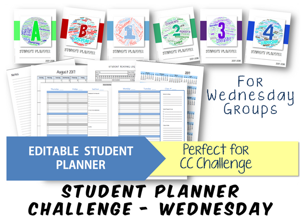 2019-2020 Student Planner - Challenge (Wednesday) - EDITABLE (INSTANT DOWNLOAD)
