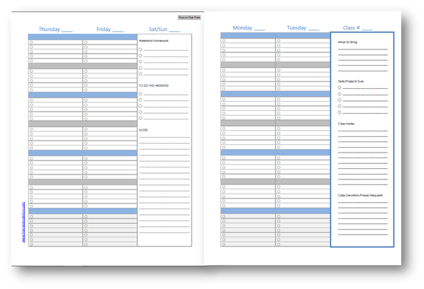 Student Planner - Challenge (Wednesday) - EDITABLE (INSTANT DOWNLOAD)