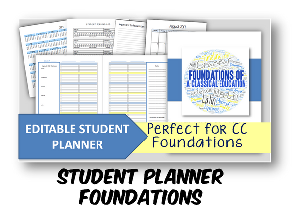 2019-2020 Student Planner - Foundations (CC) - EDITABLE (INSTANT DOWNLOAD)