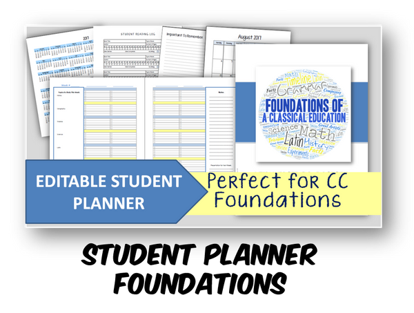 2020-2021 Student Planner - Foundations (CC) - EDITABLE (INSTANT DOWNLOAD)