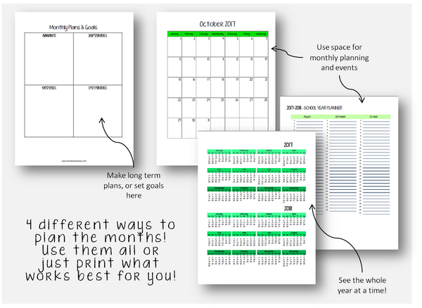 2020-2021 Student Planner - No Subject - Green or Blue (INSTANT DOWNLOAD)