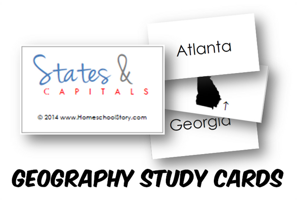 Geography - States and Capitals Study Cards (INSTANT DOWNLOAD)