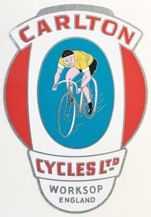 "CARLTON ""man on bike"" type head/seat transfer.-H Lloyd Cycles"