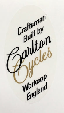 "CARLTON seat decal. ""craftsman built by Carlton Cycles Worksop England""-H Lloyd Cycles"