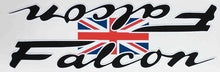 FALCON double downtube decal with union jack joining the two logos.-H Lloyd Cycles