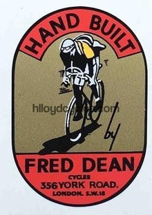 "FRED DEAN ""man on bike"" (BLRC) type decal for head/seat.-H Lloyd Cycles"