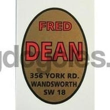 FRED DEAN. Oval head/seat transfer with 356 York Road address. Red/black/gold-H Lloyd Cycles