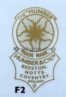 "HUMBER head/seat transfer in plain gold with ""Nymphs"" and ""Beeston, Notts. Coventry""-H Lloyd Cycles"