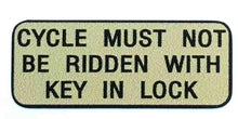 "RALEIGH ""Cycle must not be ridden with key in lock-H Lloyd Cycles"