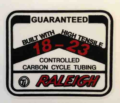Raleigh 18-23 tubing decal-H Lloyd Cycles