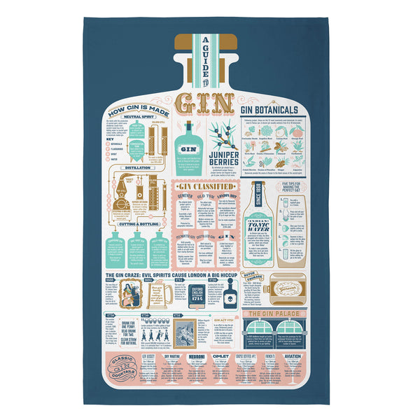 Guide to Gin Tea Towel - Caviste