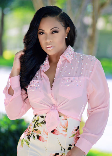 Diamonds and Pearls Blouse (Blush)