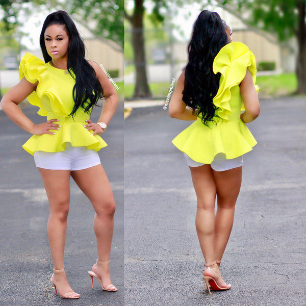Samarra Peplum Blouse (Neon Yellow)