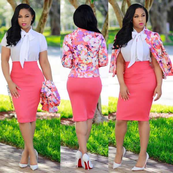 Jackie-O 3pc Skirt Set (Coral)