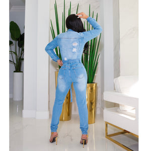 Day Party Denim Jumpsuit