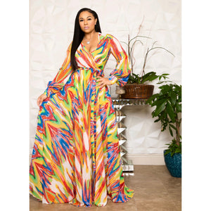 """Crayola"" Chiffon Wrap Dress"