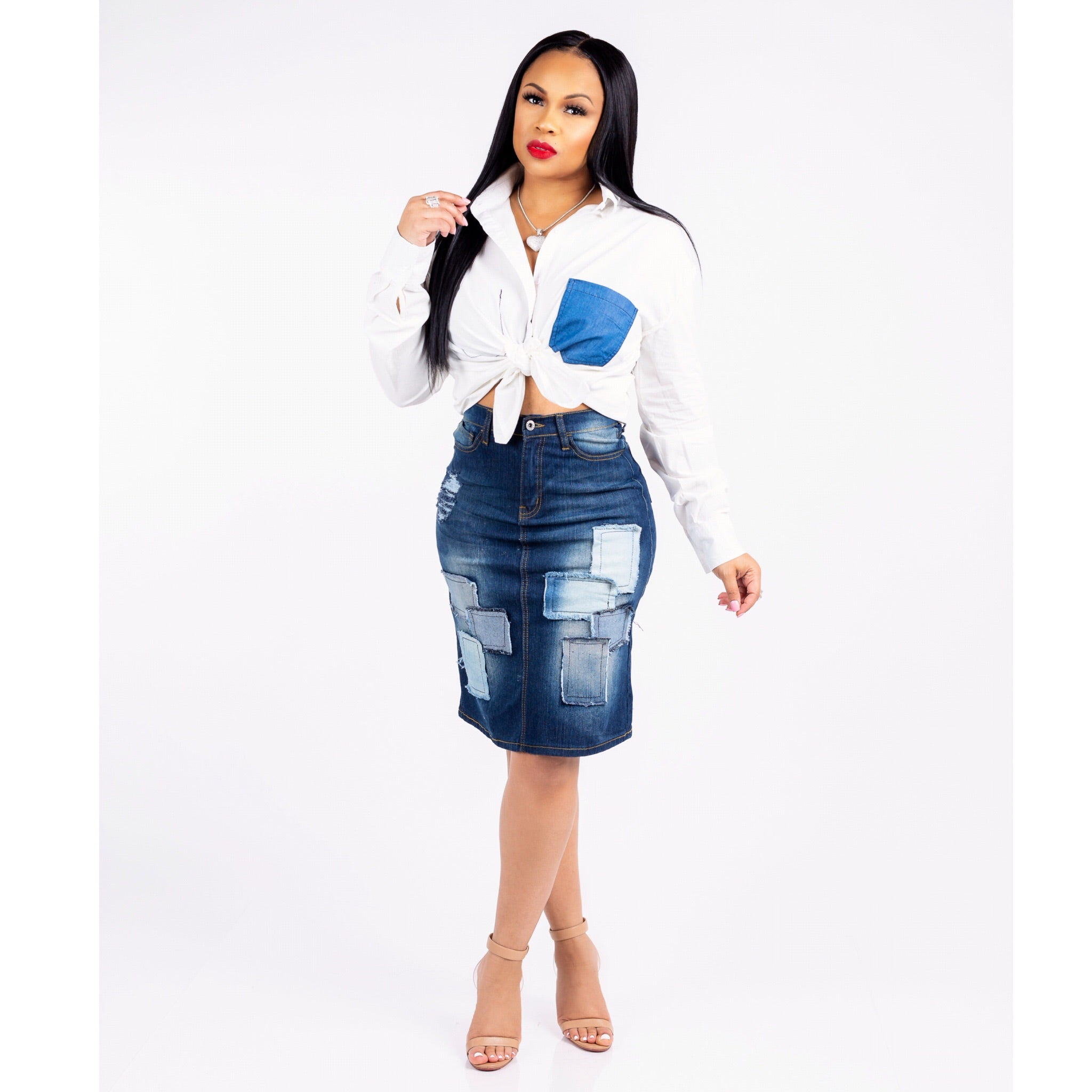 Erica Patchwork Denim Set