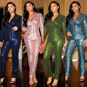 """Outstanding"" Stretch Sequin Suit"