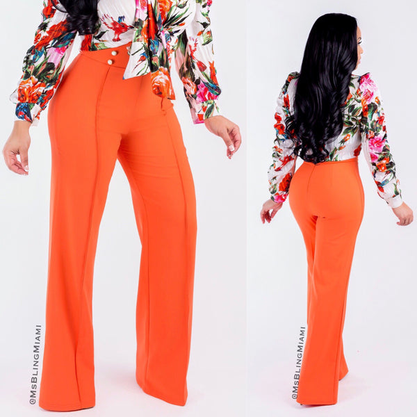 Nicole High Waist Pants (Tangerine)