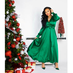 "'Tis The Season"" Sateen Wrap Dress"