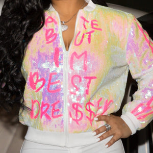 """BEST DRE$$ED"" Sequin Jacket"