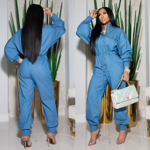 """Motorsport"" Denim Jumpsuit"