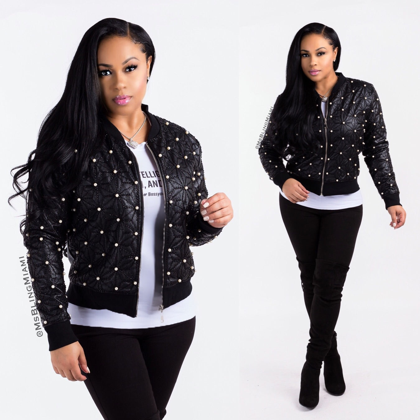 Shantel Pearl Bomber Jacket (Final Sale‼️)