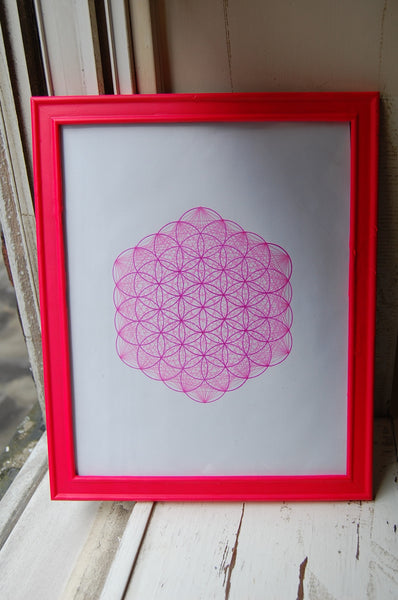 Pink Flower of Life Drawing w/ connecting lines