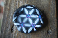 hand painted dot mandala stone metallic art rock art