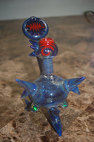 Heady Glass Oil Rig with opals by BG glass