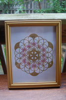 Framed Gold Flower of Life Drawing