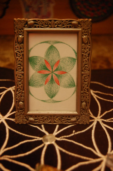 Mini Flower of Life in Silver Frame
