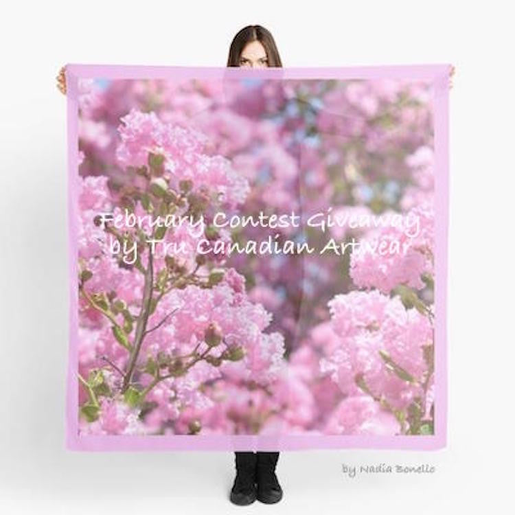 Join Us for Our February Giveaway ~ Pink Blossoms Scarf