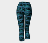 Turquoise and Black Patterned Capris