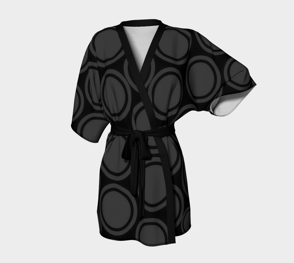 Black and Grey Circles Kimono Cardigan - Tru-Artwear.ca