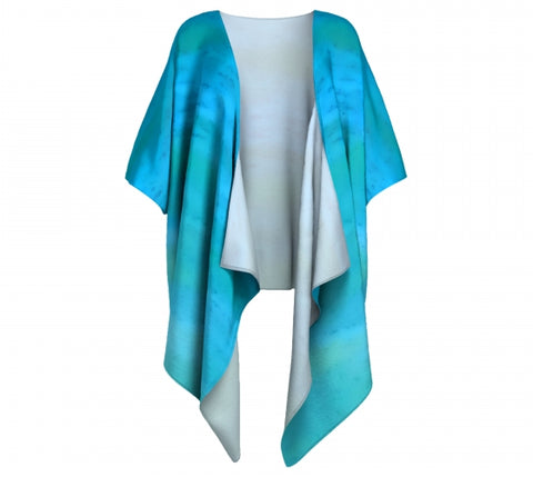'Water Colours' Draped Kimono Cardigan - Tru-Artwear.ca