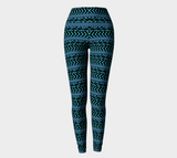 Turquoise and Black Thin Patterned Leggings