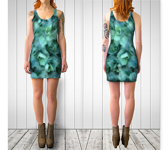 Nature & Dots Fitted Dress - Tru-Artwear.ca