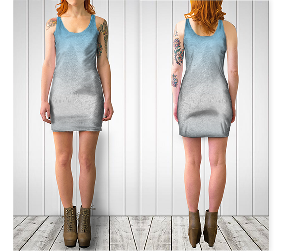 Blue Mountain (Textile Series) Fitted Dress - Trū Canadian ArtWear by Nadia Bonello