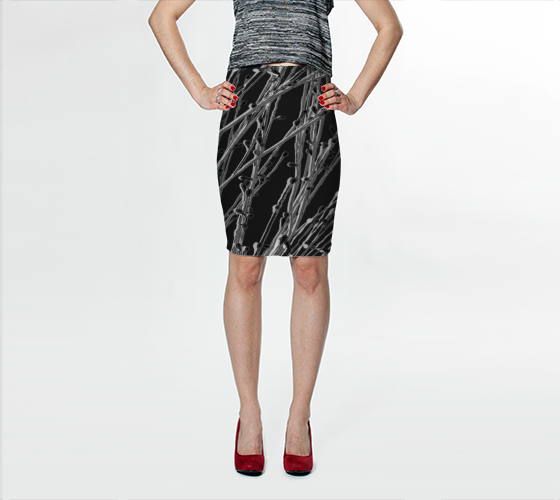 Black Grasses Fitted Skirt - Trū Canadian ArtWear by Nadia Bonello