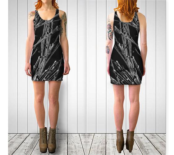 'Black Grasses' Fitted Dress - Trū Canadian ArtWear by Nadia Bonello