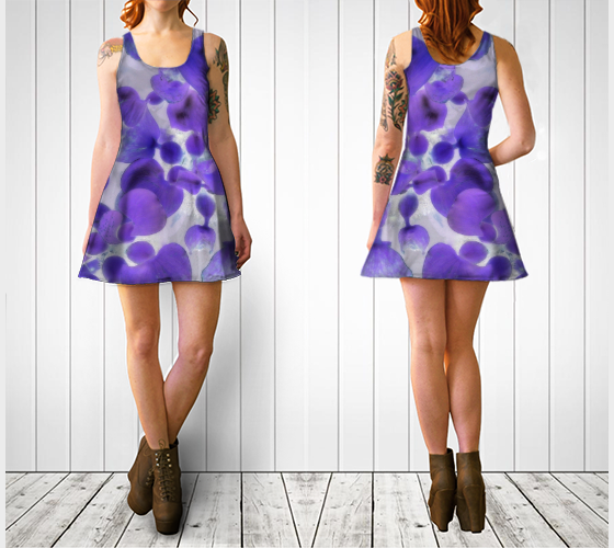 Purple Water Plant Flare Dress - Tru-Artwear.ca
