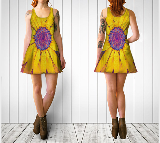 Hippie Daisy Flare Dress - Tru-Artwear.ca