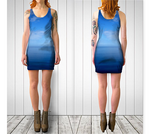 Where Water Meets Sky Fitted Dress - Tru-Artwear.ca